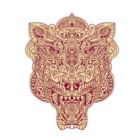 Illustration of a Tiger Head done in hand drawing sketch style Mandala.