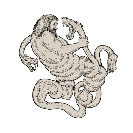 Illustratie van Hercules Fighting Lernaean Hydra gedaan in handschets Tekenstijl. Stock Illustratie