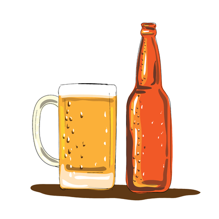 Illustration of a Craft Beer Bottle and Mug done in Watercolor style. Фото со стока - 81571022