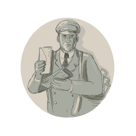 Illustration of a vintage mailman delivering letters