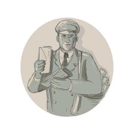 Illustration of a vintage mailman delivering letters