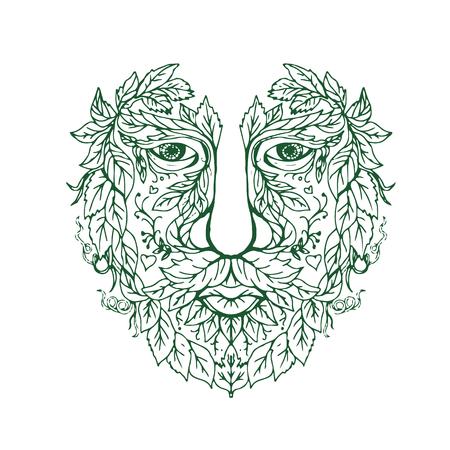 스케치 스타일 만다라를 그리기 손에서 완료 앞에서 본 녹색 남자 머리의 그림.