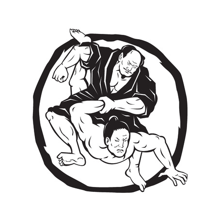 Illustration of two martial arts fighter