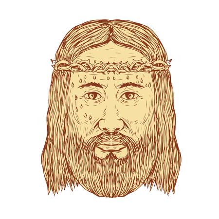 Schets illustratie van Jezus Christus met kroon van doornen Gezicht vooraanzicht gedaan in de hand Tekenstijl.