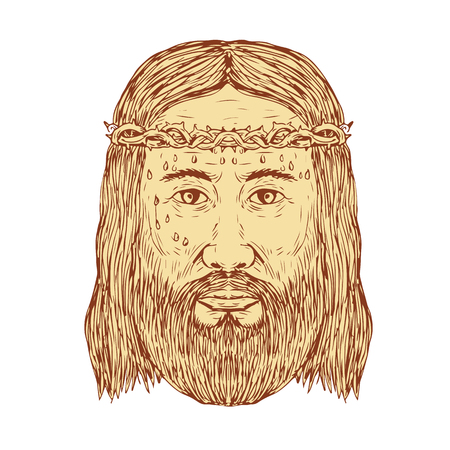 Sketch illustration of Jesus Christ With Crown of Thorns Face front view done in hand Drawing style.