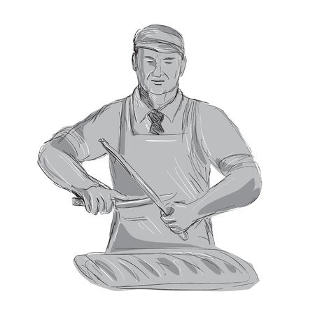 Illustration eines Weinlese-Metzgers schärfen Messer mit dem Schnitt des Fleisches, das von der vorderen getanen Handskizze gezeichnet wird Zeichnungsart. Standard-Bild - 82740120