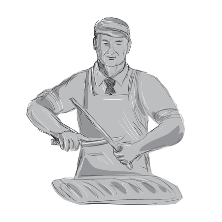 Illustration of a Vintage Butcher Sharpen Knife with cut of meat viewed from front done hand sketch Drawing style.