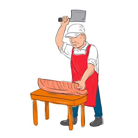 정육점의 그림 절단 스케치 드로잉에서 수행하는 벤치에 고기 만화 스타일입니다.
