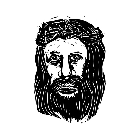 Illustration of Jesus Christ the Savior with Head with Thorns done in black and white Woodcut  style. Illustration