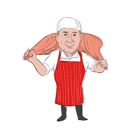 Illustratie van een Slager Draag Leg van Ham op schouder vooraanzicht gedaan in hand getekende schets Cartoon stijl. Stockfoto - 82750827
