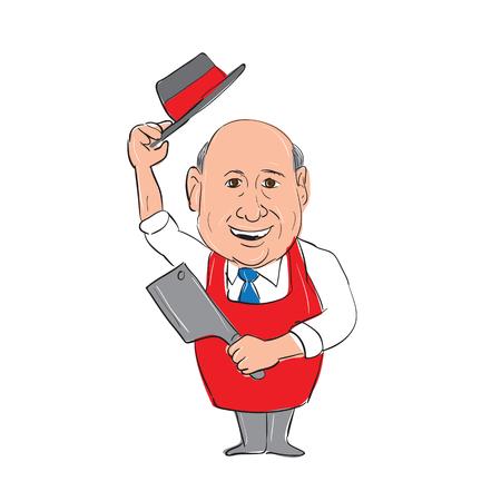 Illustratie van een Bald Butcher Tipping Hat houden vlees cleaver mes vooraanzicht gedaan in de hand schets tekening Cartoon stijl.
