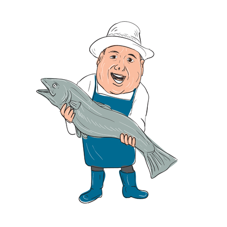 Illustration of a Fishmonger Presenting selling Fish front view done in hand drawing Cartoon style. Illustration
