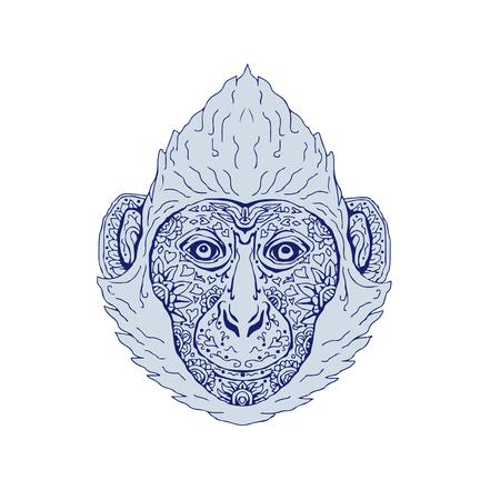 カットバ ラングール頭のイラスト表示フロント手作業スケッチ図面マンダラ スタイルです。