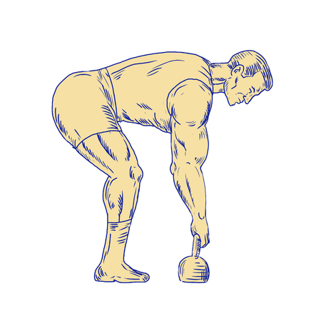 Illustration of a superhero lifting kettle bell side view done in hand sketch Drawing style. Illustration