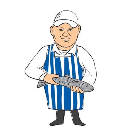 Fishmonger의 그림 판매 지주 제시 손에 물고기 스케치 드로잉 만화 스타일입니다.