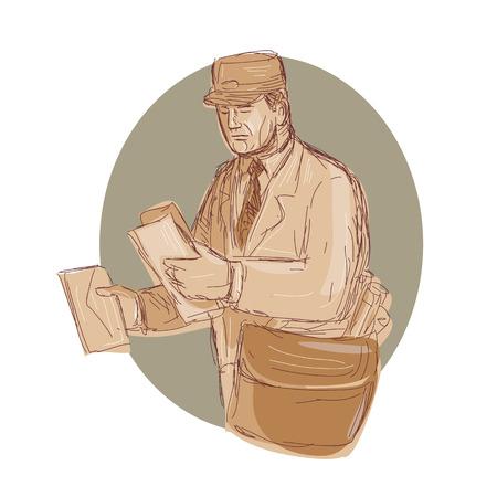 편지를 손으로 스케치 드로잉 스타일에서 수행하는 빈티지 우체부의 그림. 일러스트