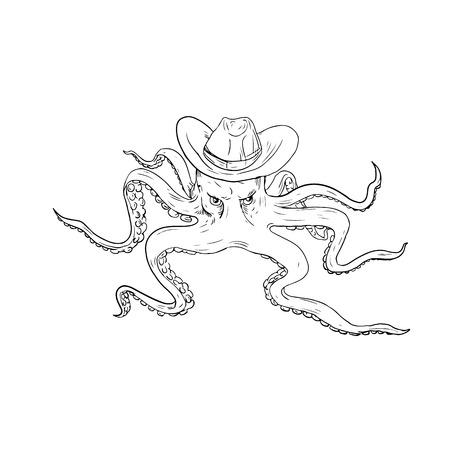 드로잉 스타일에서 수행하는 전면에서 볼 카우보이 모자를 착용하는 문 어의 그림. 일러스트