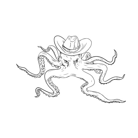 Illustration of octopus wearing cowboy hat viewed from front done in drawing style. Ilustrace