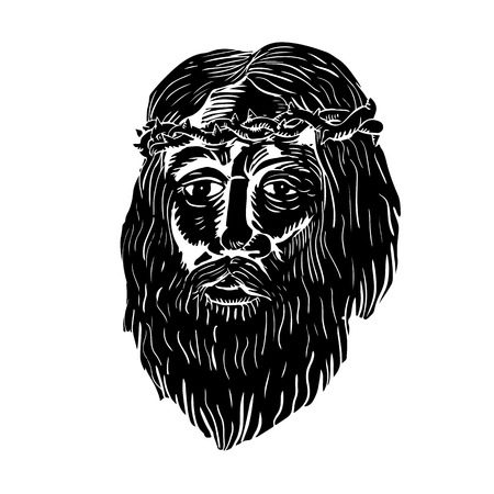 Illustration of Jesus Christ face with crown of thorns  front view done in woodcut style.