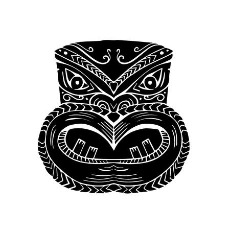Illustration of a New Zealand Maori Koruru Tiki mask done in Woodcut style.