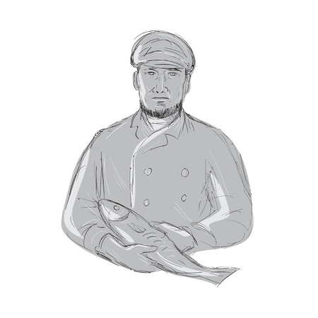 Illustration of a vintage fishmonger wearing cap holding fish front view done in hand sketch drawing style. Illustration