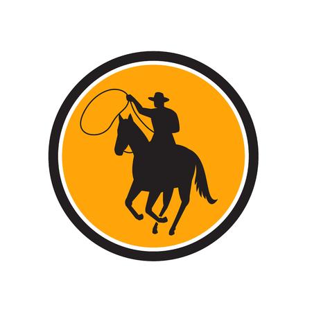 Illustratie van een rodeo cowboy rijden paard met lasso touw team roping set in de cirkel gedaan in retro stijl. Stock Illustratie