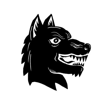 怒っているオオカミ野生のイラスト犬ヘッド側ビュー行われる木版画のスタイル。