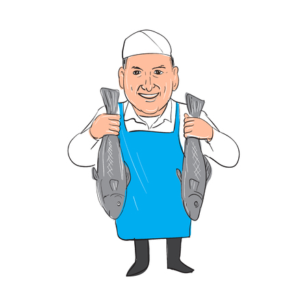 Illustration of a Fishmonger smiling Holding Selling Fish front view done in hand sketch drawing Cartoon style. Çizim