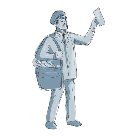 Illustration of a Vintage Postman mailman Holding up Letter done in hand sketch Drawing style.