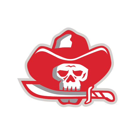 Illustration of a Cowboy Pirate Skull Biting Knife with mouth viewed from front done in Retro style.