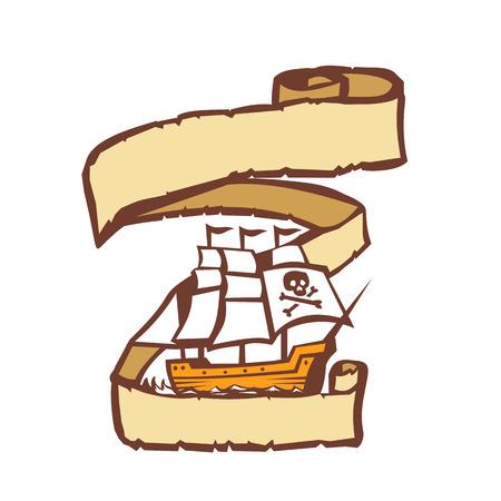 レトロなスタイルでスクロールに囲まれた船を海賊のセーリングのガレオン船のイラスト。 写真素材 - 83920587
