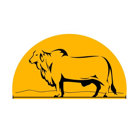 Illustration of a Brahman or Brahma Bull with Mountains Side view set inside Half Circle done in retro style.