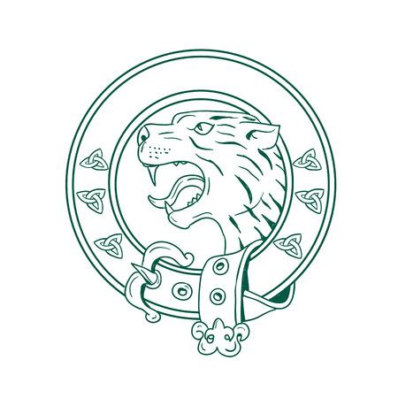ハイランド タイガー ヘッドのイラスト。