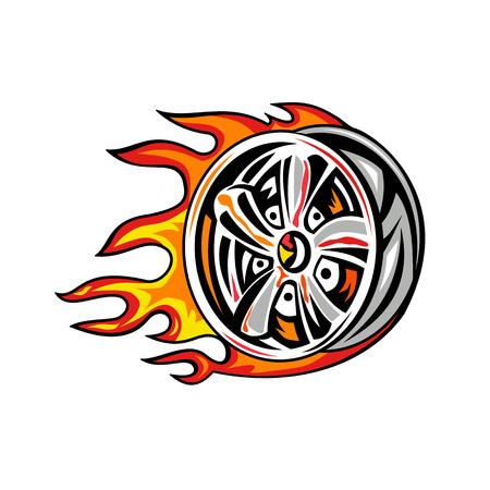 화재에 타오르는 휠 변죽의 그림.