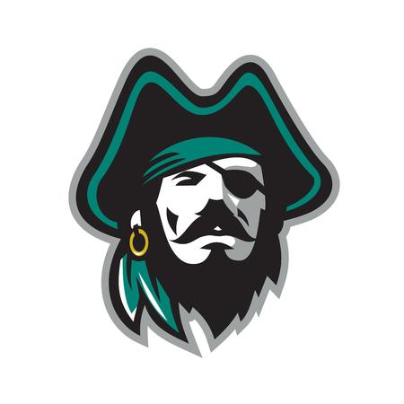 目パッチを身に着けている海賊のイラスト。
