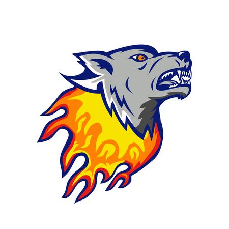 화재에 화가 불타는 늑대 머리의 그림.