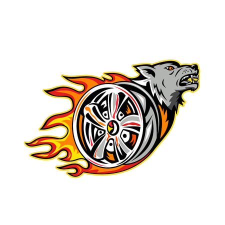 Illustration of an angry wolf head on Flaming wheel rim.