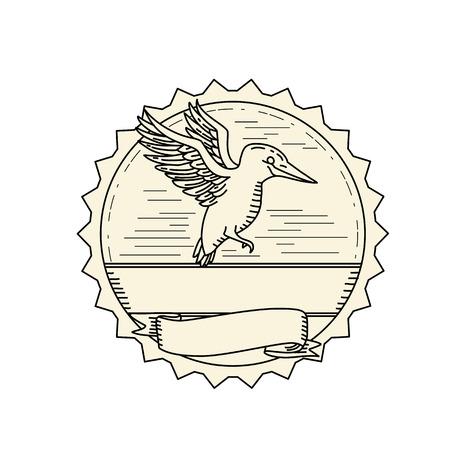 Illustratie van een ijsvogel vliegen.