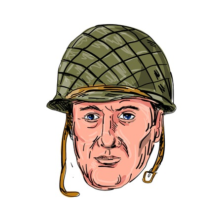 Illustration of a World War II American soldier.