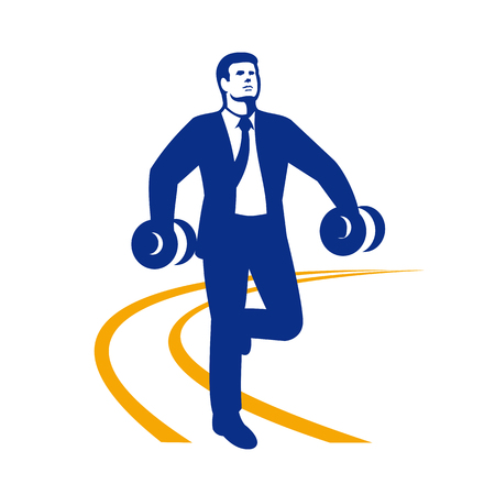 Illustration of an office worker in suit coat and tie power walking.