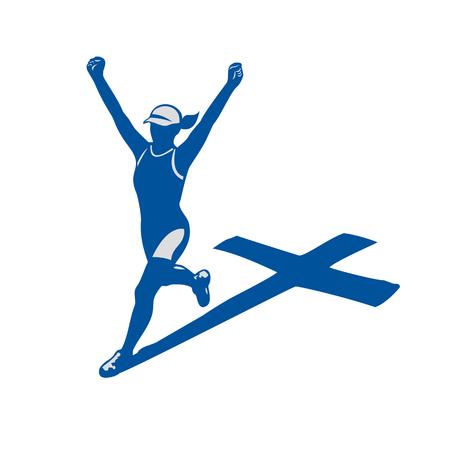 女子マラソン トライアスロン ランナーのイラスト。