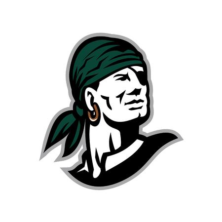 Illustration eines Piraten Tragen Kopftuch. Standard-Bild - 83920659