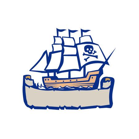 Ilustración de un pirata que navega la nave del galeón. Foto de archivo - 83920661