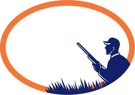 Illustration of a duck hunter with shotgun viewed from the side set inside oval shape done in retro style.