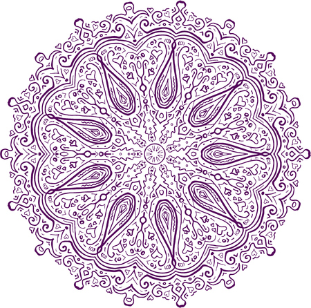 Mandala style of a paisley pattern design using buta or boteh, a droplet shaped set on isolated white background.  向量圖像