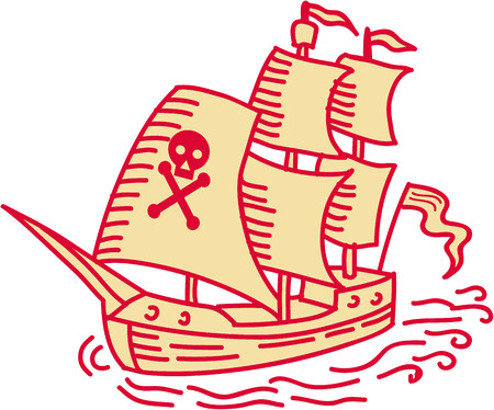 격리 된 흰색 배경에 설정하는 프런트에서 볼 해 적 항해 선박 galleon의 모노 라인 스타일 그림.
