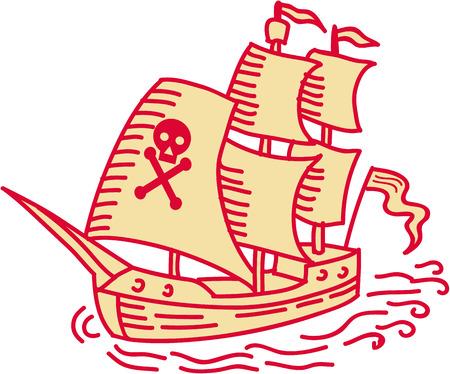 De mono illustratie van de lijnstijl van een schip van het piraat varend die schip van voorzijde wordt bekeken op geïsoleerde witte achtergrond wordt geplaatst.