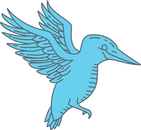 モノラル ライン飛ぶカワセミ鳥のイラストは、分離の背景を白に設定側から見た。