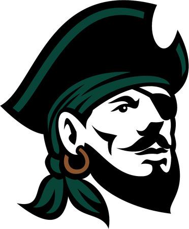 La ilustración de una cabeza de un pirata barbudo con el sombrero que lleva del parche y el pañuelo que mira para arriba fijó en el fondo blanco aislado hecho en estilo retro.