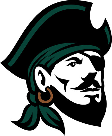 Illustration of a head of a bearded pirate with eyepatch wearing hat and headscarf looking up set on isolated white background done in retro style.